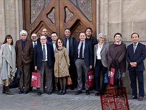 Els vicerrectors de les universitats catalanes durant la reunió amb l'Institut Confuci, a Barcelona.