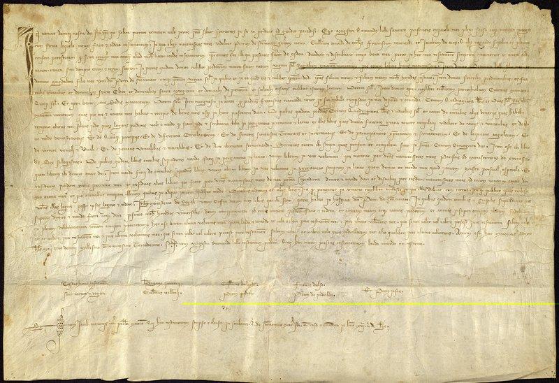 Imatge digitalitzada del testament de Ramon Llull, propietat de l' Arxiu dels Marquesos de Santa Maria de Barberà (AMSMB) del Castell de Vilassar. AHV