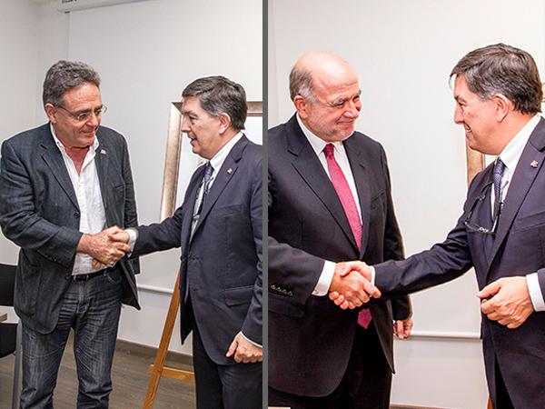 El rector Josep Anton Ferré, amb l'exrector Lluís Arola i l'exalcade Joan Sabaté.
