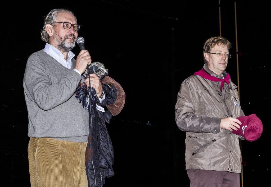 El director del campus de les Terres de l'Ebre, Azael Fabregat i l'alcalde de Tortosa, Ferran Bel, durant els parlaments.