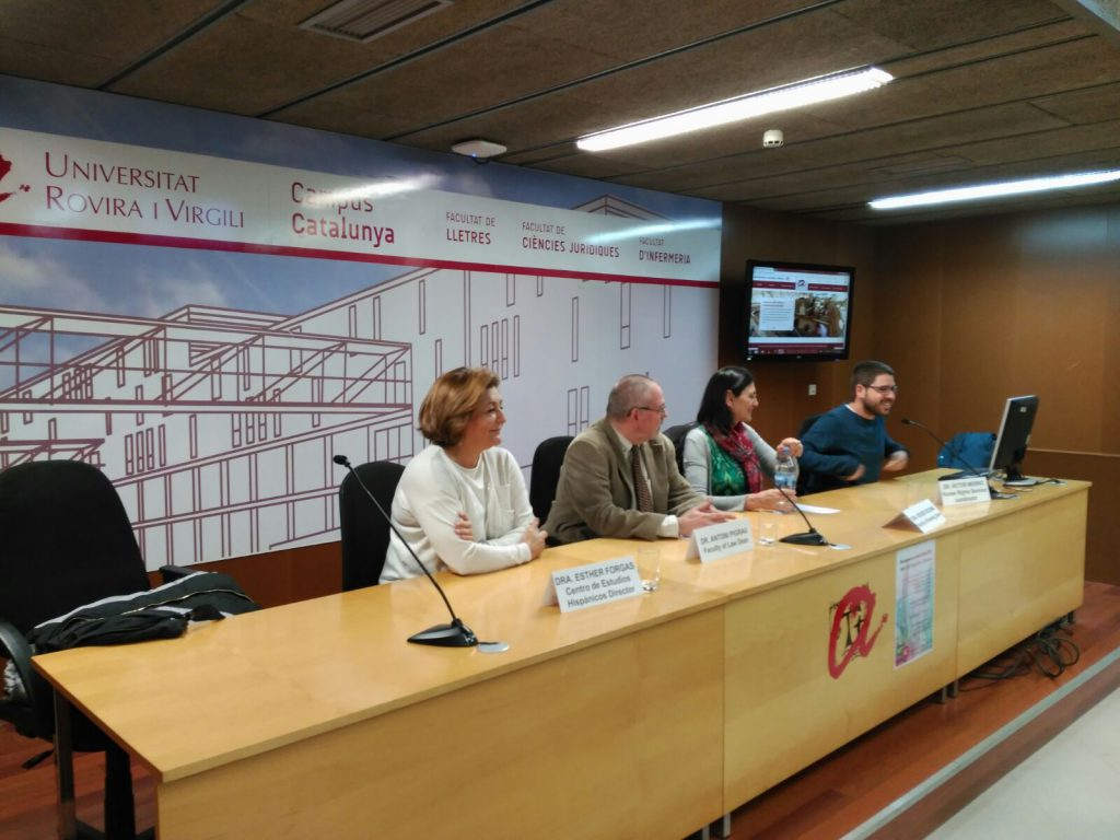 Left to right, Esther Forgas, Antoni Pigrau, Roser Ricomà and Víctor Merino, during the welcome event for the Japanese students.