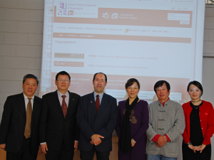 The director of ETSE, Domènec Puig, received the delegation from Shenzhen Polytechnic.