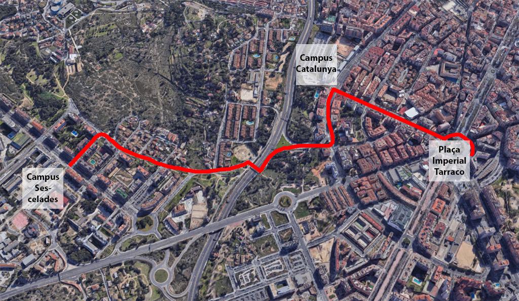 Itinerari del carril bici sobre plànol