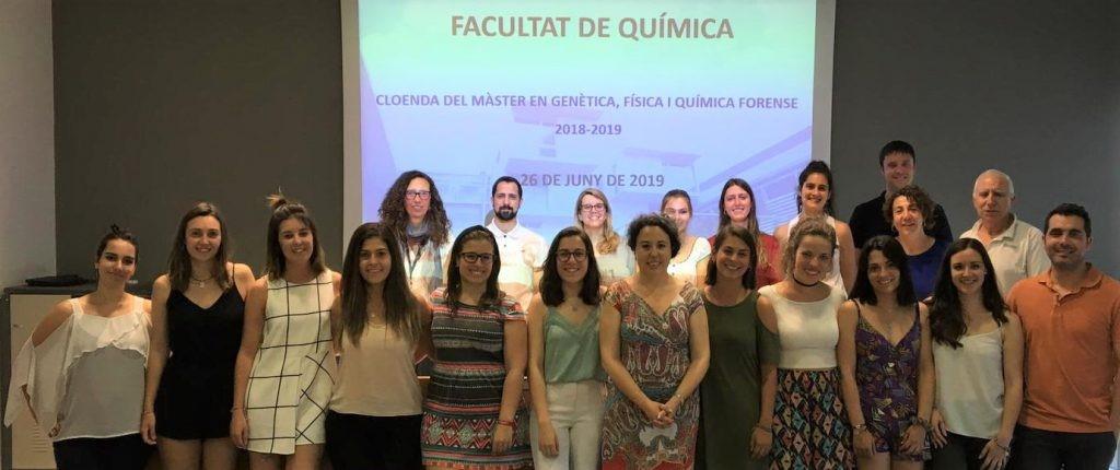 Es celebra la cloenda del Màster en Genètica, Física i Química Forense del curs 2018-2019